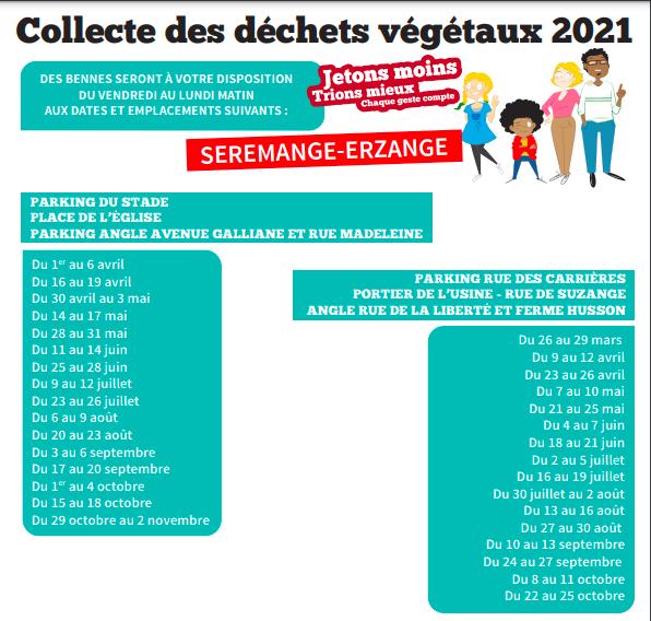 Calendrier des dechets verts 2021